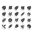 organic leaf black silhouette icons set vector image vector image