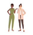 pair of smiling women dressed in business clothes vector image vector image