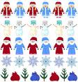 pattern Christmas Santa Claus snow maiden snowman vector image