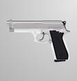 realistic a silver handgun vector image vector image