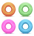 realistic detailed 3d color swim rings set vector image