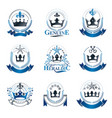 royal crowns emblems set heraldic coat of arms vector image vector image