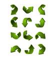 set different 3d arrows green color vector image