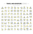set flat line icons travel and adventure vector image vector image