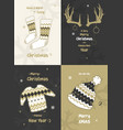 set merry christmas hand drawn cards doodles vector image