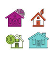 smart house icon set color outline style vector image vector image