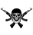 soldier skull in military helmet and crossed