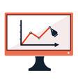 success chart stats drawing pen on computer screen vector image vector image
