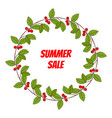 summer sale poster with wintergreen wreath vector image vector image
