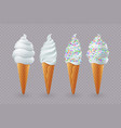 tasty ice cream with vanilla in a waffle cup vector image vector image