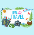 time to travel horizontal banner vector image vector image
