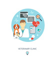 Veterinary flat set Veterinary banner background vector image vector image