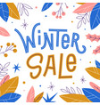 winter sale banner with snowflakes and leaves vector image vector image