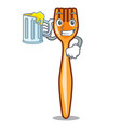 with juice plastic fork on use for mascot vector image
