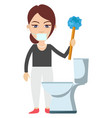 woman cleaning toilet on white background vector image