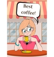 Lady or girl with Cup of coffee in a cafe and vector image