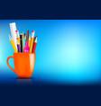 orange stationary mug with pen pencil eraser vector image
