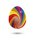 3d striped swirl easter egg on white background vector image