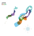 Abstract color map of Japan vector image vector image