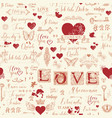 abstract seamless pattern on love theme vector image vector image