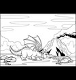 black and white coloring page dragon in the vector image