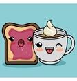 breakfast ingredients character kawaii style vector image vector image