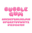 bubble gum font pink sweet candy latin vector image
