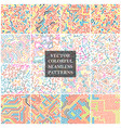bundle bright color seamless patterns cruve vector image vector image
