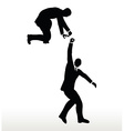 businessmen team holding on with a helping hand vector image