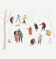 cartoon happy people enjoying in winter vector image