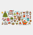 christmas set of icons or symbols xmas concept vector image vector image
