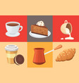 coffee set and sweet desserts isolated vector image vector image