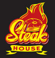 color template for steak house with calligraphic vector image vector image