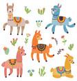 cute lama set vector image