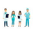 doctors and nurses team cartoon medical staff vector image vector image