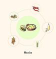 famous mexico symbols doodle concept vector image vector image