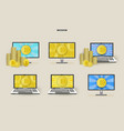 flat laptops monitor with bitcoin set vector image vector image