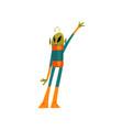 funny green alien waving its hand humanoid