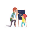 girl drawing chalk little baby learning draw vector image