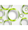 Green shiny circles on white background vector image vector image