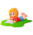 happy girl reading book vector image vector image