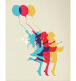 Happy woman dancing in vibrant colors vector image