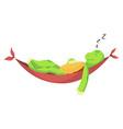 happy young cartoon turtle lies on hammock vector image vector image