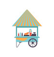 hot dog cart with seller street food cart mobile vector image vector image