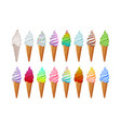 ice cream collection colorful isolated stickers vector image vector image