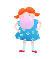little girl and chewing gum bubble fun vector image