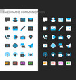 media and communication icons light and dark theme vector image vector image