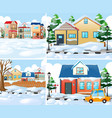 neighborhood scnes with houses in winter vector image