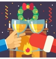 New Year Christmas with Santa Claus Celebration vector image vector image