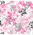 pink black tropical leaves summer seamless vector image vector image